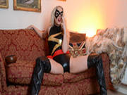 Slutty Blonde In Cosplay Smoking A Cigarette And Teasing Her Cunt