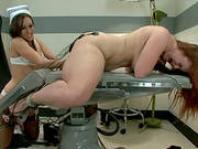 Two Sexy Brunette Nurses Dominating Bella Rossi In Lesbian Bdsm Vid