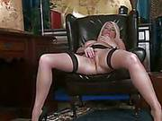 Blonde Milf In Black Stockings Amber Jewell Spreading The Legs And Petting The Cunt