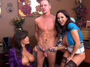 Lisa Ann And Ava Addams Playing With His Big Dick