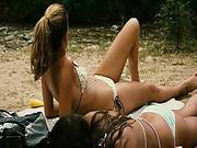 Amber Heard And Odette Yustman In Bikini Tops And Shorts As