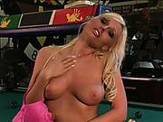 Juicy Titted Blonde Babe Angelina Ash Poses In Sexy Pink Panties In The Pool Room