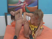 Marvelous Lesbian Cowgirl With Small Tits Getting Her Pussy Licked Then Drilled With A Strap On Dild