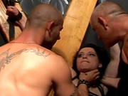 Strangling Brunette Into Rough Dp Shot From Close Up