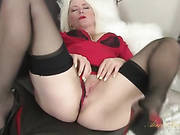 Blonde Milf Amber Jewell In Seamed Stockings