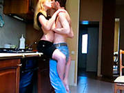 Leggy Blonde Teen Gets Hammered By Her Boyfriend In Kitchen
