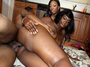 Ebony Honeys Anita And Serena Take Turns On Cock