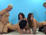 Lingerie-clad Porn Star With Pretty Natural Tits Enjoying A Hardcore Gangbang