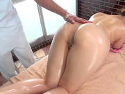 Sexy Japanese Girl Oiled Up And Toyed During A Massage