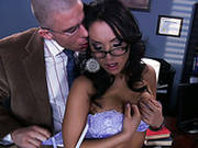 Asa Akira Seduces Her Boss And Gets Her Tits Suckled
