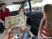 Young Amateur Brunettes Nickey And Abby Get In Bang Bus