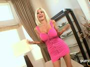 Puma Swede Blonde Babe In Sexy Tight Pink Dress